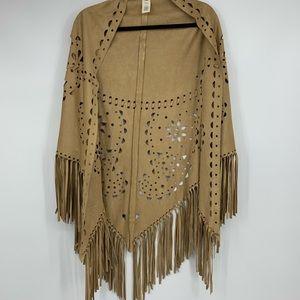 Indigo Thread women's cape wrap cutout fringe boho